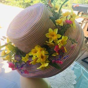 Vintage Lavender Banded Floral Summer Straw50s Hat
